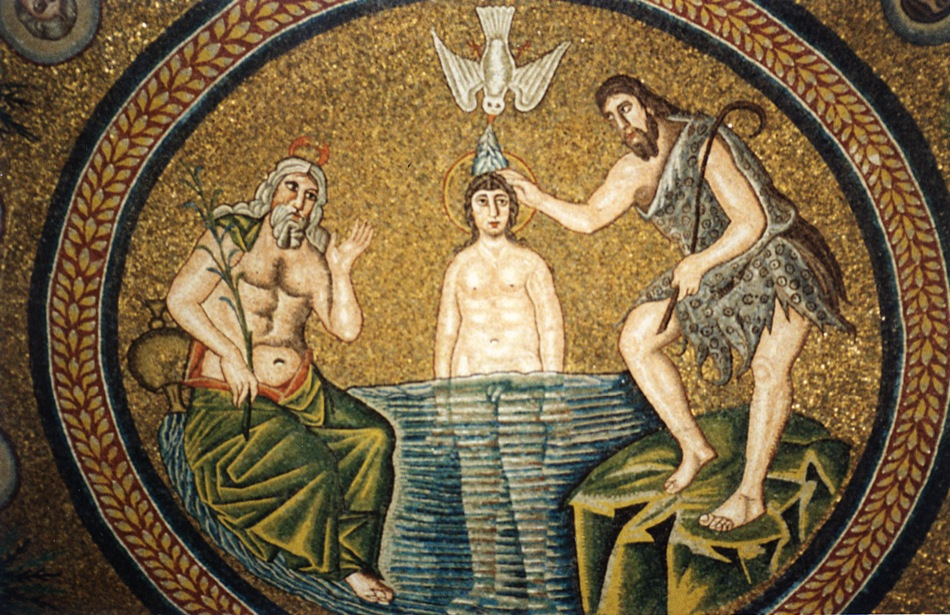 Jesus as depicted in the Arian baptistery. Beardles, feminine and happy.